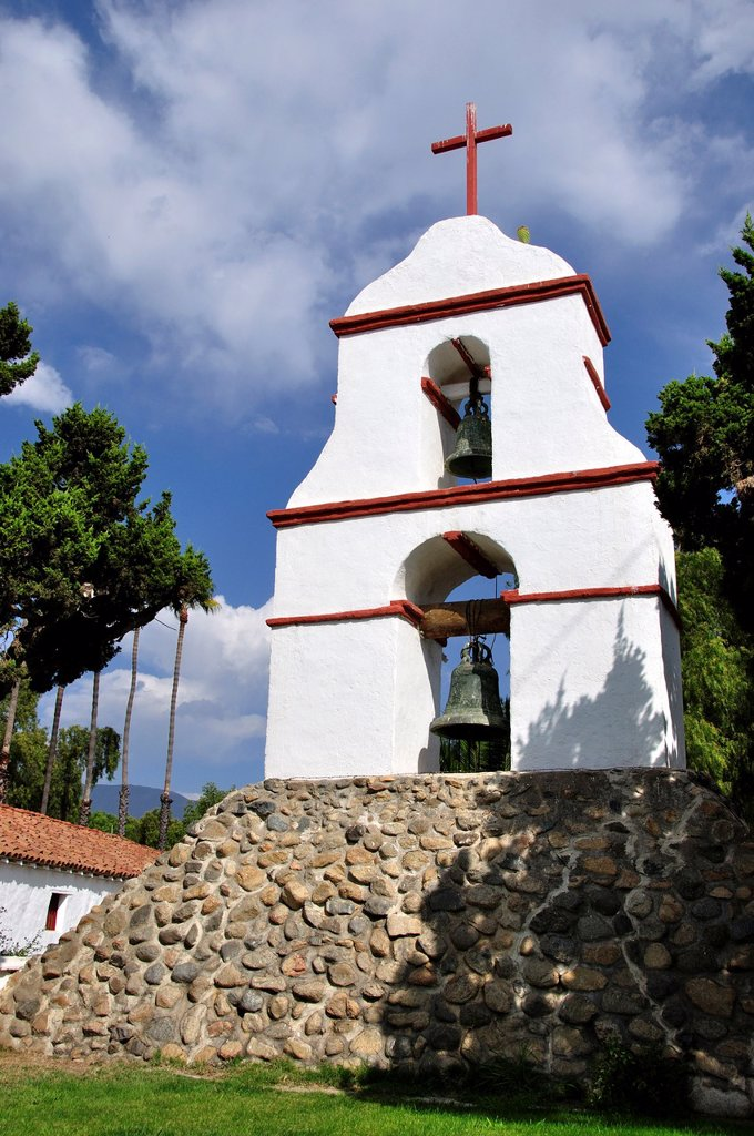 Stock Photo: 1566-927616 California, Pala, Pala Indian Reservation, Mission San Antonio de Pala, Founded in 1816, The Original Bell Tower, Built separate from the church