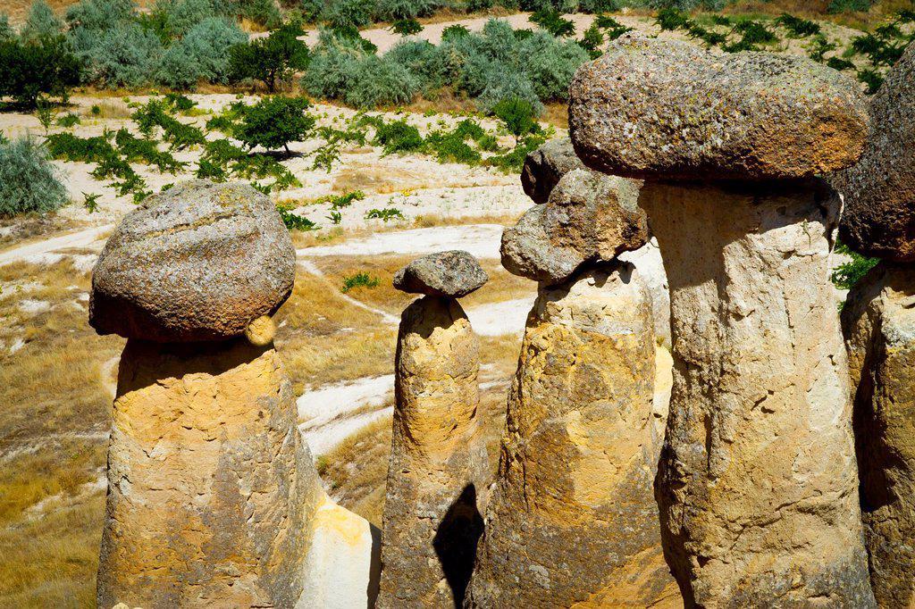 Stock Photo: 1566-927766 Fairy Chimneys  Cavusin  Cappadocia  Turkey