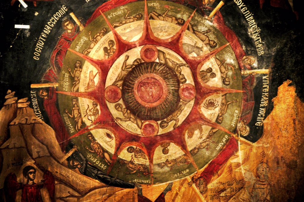 Stock Photo: 1566-927820 Bulgaria, Arbanasi, Church of the Nativity of Christ 15th cent, Ceiling Mural