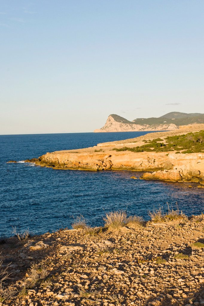 Stock Photo: 1566-927954 Cliffs of Cap Bassa and Cap Nunó, Cala Bassa Cala Compte Natural Park, Ibiza, Balearic islands Spain