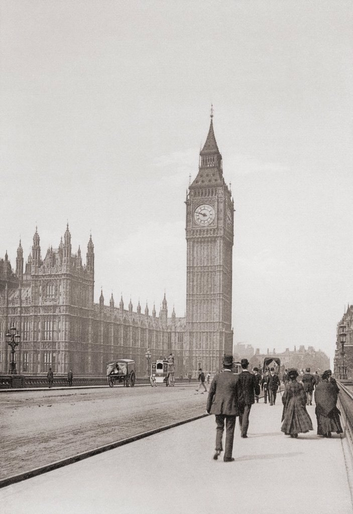 Stock Photo: 1566-928006 The Palace of Westminster, aka the Houses of Parliament or Westminster Palace, London, England in the late 19th century  From London, Historic and Social, published 1902