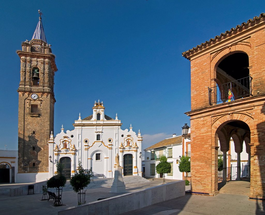 Stock Photo: 1566-928248 Church and town hall square  Bollullos par del Condado  Huelva-province  Spain