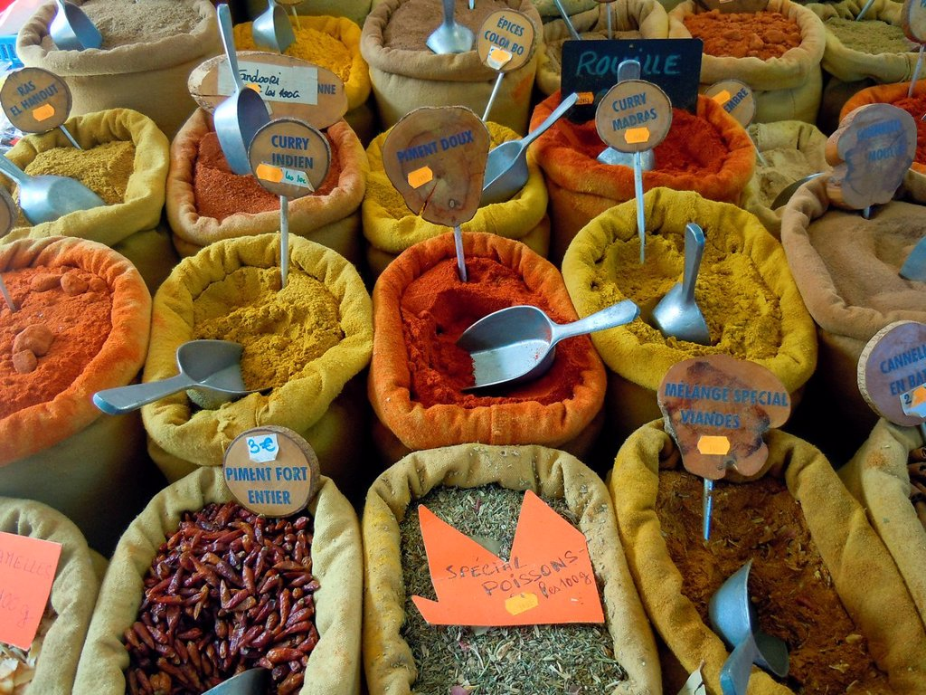 Spices Street food market Ajaccio Corsica France : Stock Photo