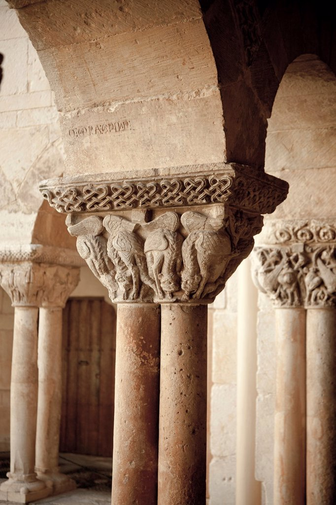 Stock Photo: 1566-928619 Romanesque cloister, Santo Domingo de Silos monastery  Burgos  Spain