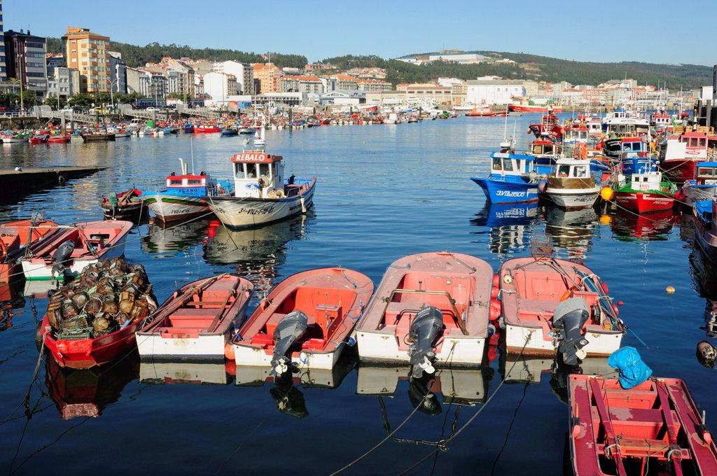 Stock Photo: 1566-928840 Artisan fishing boats in Santa Uxia de Riveira, Coruña, Galicia, Spain