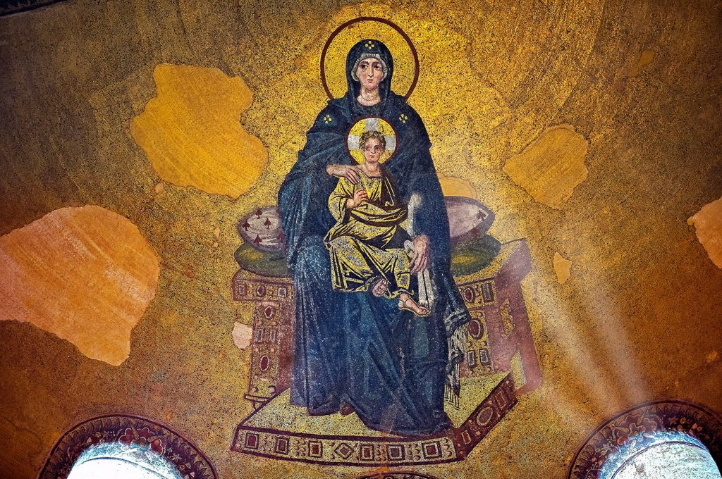 Stock Photo: 1566-929090 Byzantine mosaic of the Virgin and Child was the first of the post-iconoclastic mosaics inaugurated on 29 March 867 by Patriarch Photius and the emperors Michael III and Basil I  Hagia Sophia, Istanbul, Turkey
