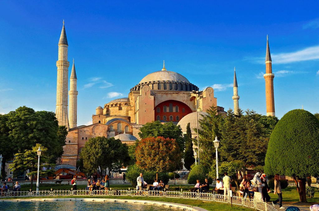 Stock Photo: 1566-929095 The exterior of the 6th century Byzantine Eastern Roman Hagia Sophia  Ayasofya  built by Emperor Justinian  The size of the dome was un-surpassed until the 16th century, Istanbul, Turkey