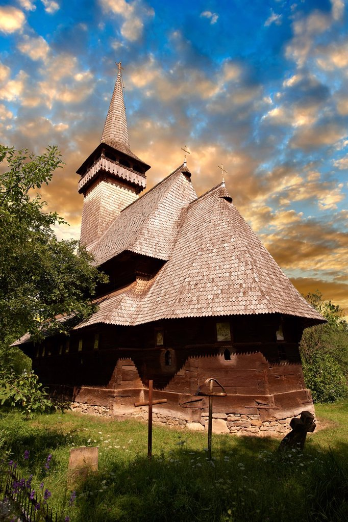 Stock Photo: 1566-929121 Wooden Church of the Greco Catholic Sat Suagtag  Biserica de lemn, Maramures, Northern Transylvania, Romania.