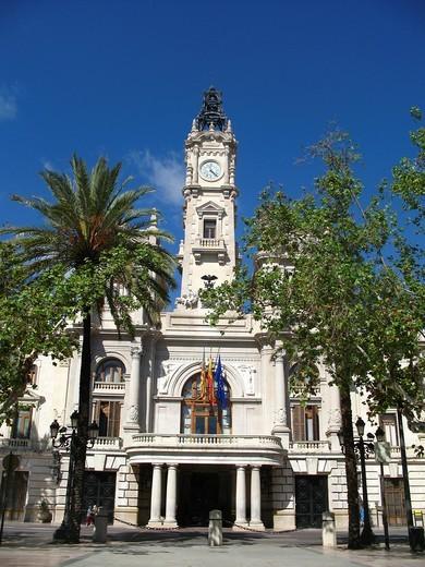 Stock Photo: 1566-929475 City Hall, Valencia, Comunidad Valenciana, Spain
