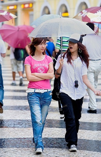 Friends, in Largo do Senado,Macau,China : Stock Photo