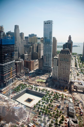 The under construction 9/11 Memorial and Museum with their reflecting pools in New York : Stock Photo