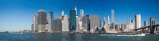 Stock Photo: 1566-929888 Panorama view of the Downtown Manhattan Skyline