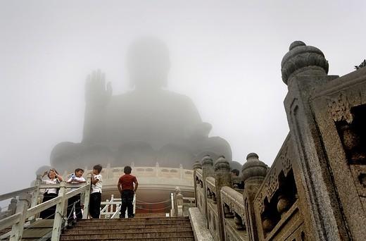 Stock Photo: 1566-930388 Giant Buddha in Po Lin Monastery  Lantau Island,Hong Kong, China