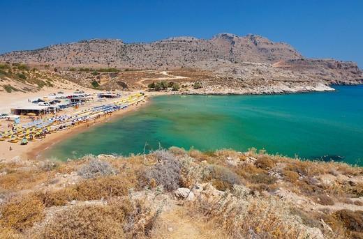 Agathi Beach  Agathi Bay  East Coast, Rhodes Island, The Dodecanese Archipelago, Greece, Europe : Stock Photo