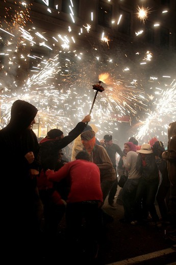 Correfocs, La Merce feast, Barcelona, Catalonia, Spain : Stock Photo