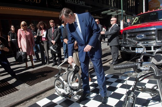 Stock Photo: 1566-931246 The President of the Republic of Slovenia, Dr Danilo Türk, visits an exhibit of BigFish folding bicycles outside of the Clinton Global Initiative at the New York Sheraton Hotel The bicycle company will be shipping a black model of their state-of-the-art f. The President of the Republic of Slovenia, Dr Danilo Türk, visits an exhibit of BigFish folding bicycles outside of the Clinton Global Initiative at the New York Sheraton Hotel The bicycle company will be shipping a black model of their state-