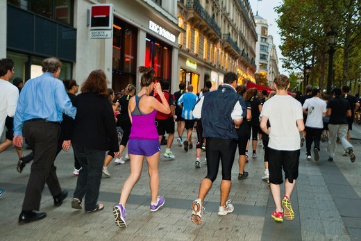 Paris, France, Group Adults Jogging on Street, Ave. Champs-Elysees : Stock Photo