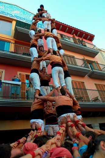 -Human Towers- Castellers Festival, Cambrils, Catalonia (Spain). : Stock Photo