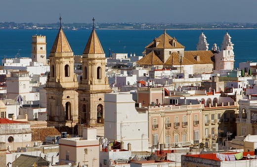Skyline,San Antonio church and Carmen church,Cádiz, Andalusia, Spain : Stock Photo