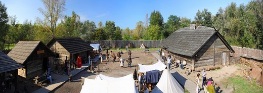 Jomsborg Vikings Hird reenactment group, Warsaw, Poland : Stock Photo