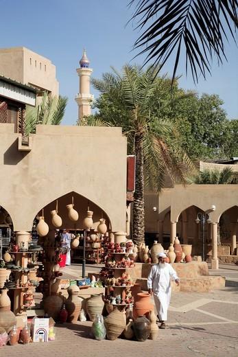 Stock Photo: 1566-932042 Oman, Al-Dakhiliyah, Nizwa, souq, pottery shop, street scene