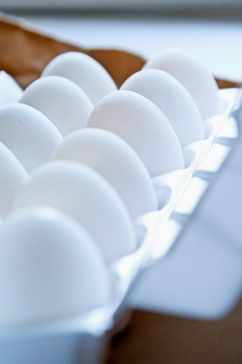 close up of Eggs in tray : Stock Photo