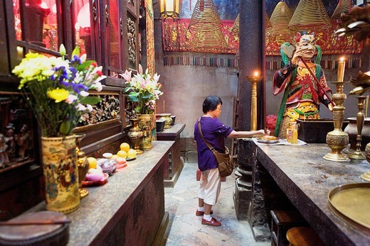 Tin Hau temple  Devotee offering incense Causeway Bay,Hong Kong, China : Stock Photo