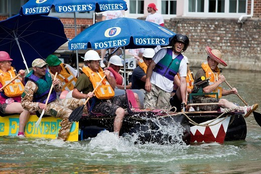 Stock Photo: 1566-932667 The Annual Lewes to Newhaven Raft Race, Lewes, Sussex, England