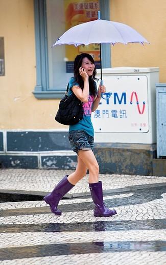 Woman, in Largo do Senado,Macau,China : Stock Photo