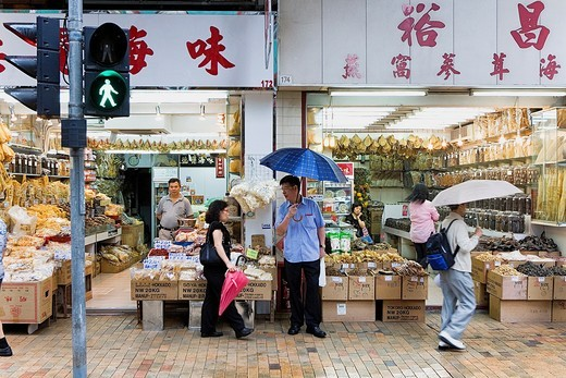 Stock Photo: 1566-933215 Dried seafood shops, Des Voeux Road West,Sheung Wan,Hong Kong, China