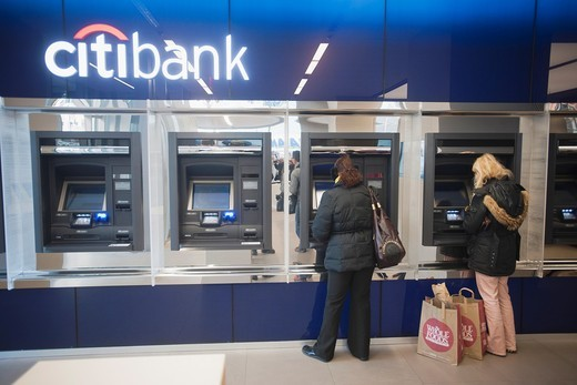ATM machines in the Citibank new flagship high tech branch in the Union Square neighborhood of New York The 9, 700 square foot branch is on the site of the closed Virgin Music Megastore and is open seven days offering interactive sales walls and enhanced. ATM machines in the Citibank new flagship high tech branch in the Union Square neighborhood of New York The 9, 700 square foot branch is on the site of the closed Virgin Music Megastore and is open seven days offering interactive sales walls an : Stock Photo