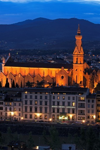 Florence  Church of The Santa Croce at Dusk  Santa Croce church  Tuscany  Italy  Europe. : Stock Photo
