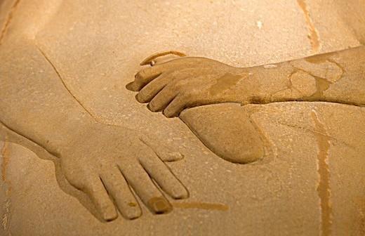 Stock Photo: 1566-933873 Museum of Cadiz, detail of Phoenician sarcophagi 400 a c, Cádiz, Andalusia, Spain