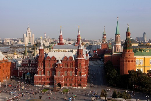 Rusia , Moscow City, History Museum Bldg , Red Square and the Kremlin : Stock Photo