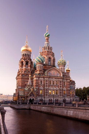 Stock Photo: 1566-934078 Rusia , San Petersburg City , Church of the Savior on Spilled Blood and Gribodeyova Canal.