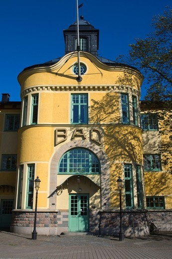 Stock Photo: 1566-934407 Gamla Badhuset the old bath house at Kungsplan square Karlskrona in Blekinge county southern Sweden Europe