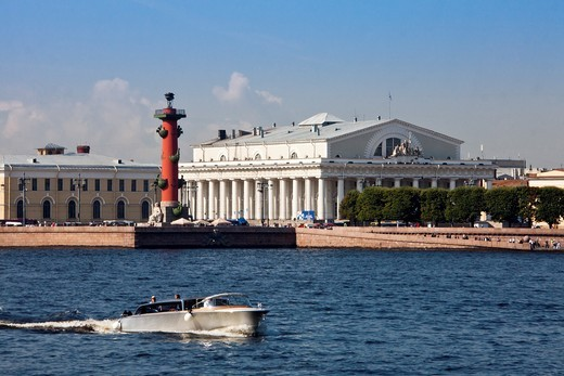 Stock Photo: 1566-934559 Rusia , San Petersburg City, Rostral Column and Naval Museum Bldg.