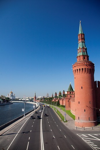 Rusia , Moscow City, The Kremlin, South Walls and Moscow river : Stock Photo