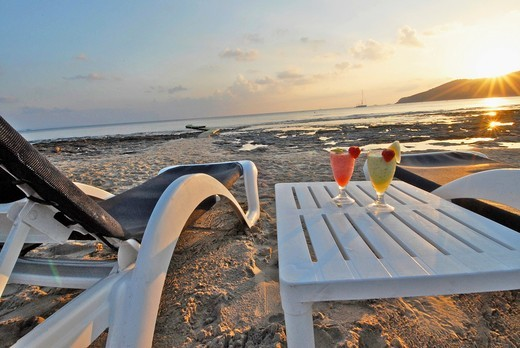 Sunset, relax and cocktails in Salinas Beach, Ibiza : Stock Photo