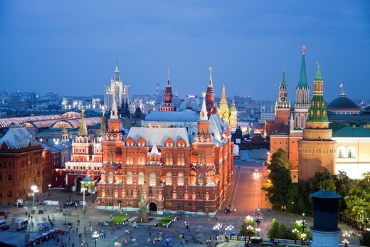 Stock Photo: 1566-935097 Rusia , Moscow City, The Kremlin, San Basil´s Church and History Museum Skyline