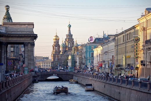 Rusia , San Petersburg City ,Griboyedova Canal and church of the Savior on Spilled Blood. : Stock Photo