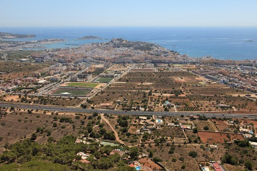Ibiza capital, road around Ibiza in the middle of the image, Ibiza, Balearic Islands, Spain : Stock Photo