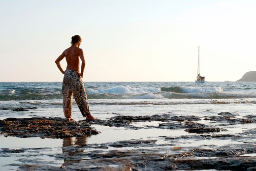 Stock Photo: 1566-935361 Daylife in Salinas beach  Named after the salt lakes in the south of Ibiza, the beach at Las Salinas is the southern most tip of the island and the most popular with celebrities
