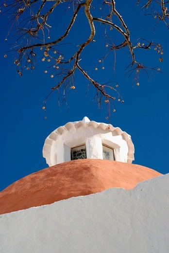 Puig de Missa is an important architectonic area of Santa Eulalia del Rio, Ibiza, with a church from the XVI Century that gives name to the popular set, a cemetery and various houses : Stock Photo