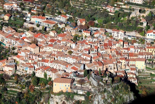 The medieval perched village of Peille, Alpes-Maritimes, French Riviera, Provence-Alpes-Côte d´Azur, France, Europe : Stock Photo