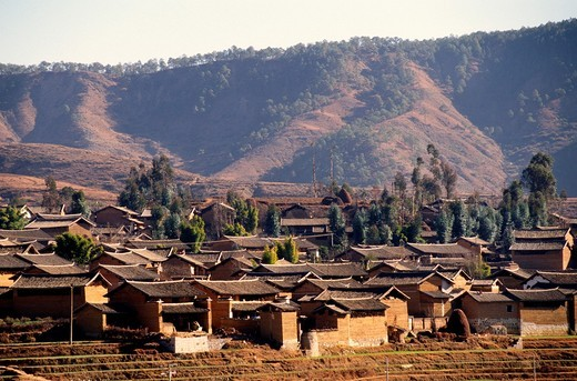 China, Yunnan Province, village, mountains, : Stock Photo