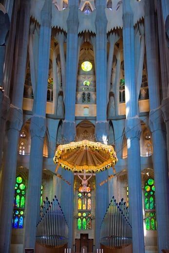 Spain, Catalunya Region, Barcelona City, Sagrada Familia Temple inside, Detail. : Stock Photo