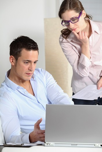 couple with laptop : Stock Photo