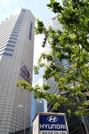Seoul (South Korea): modern buildings in the Samgak-dong financial area : Stock Photo