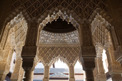 Arches, Court of Lions, Alhambra, Granada, Spain : Stock Photo
